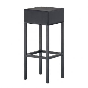 Cube 1400 - Bar stool with black varnished structure and black mid grain leather seat