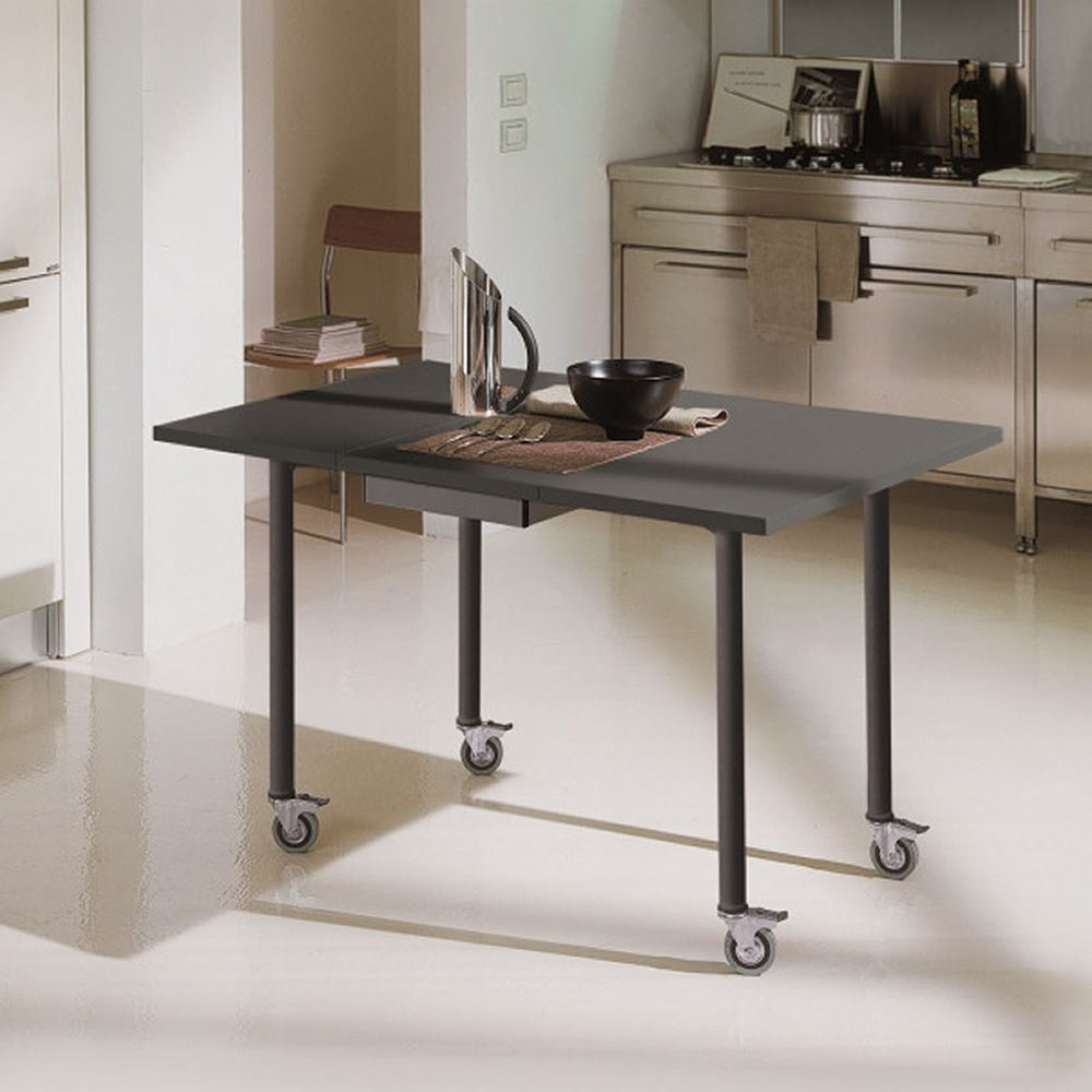Folding table with anthracite grey metal frame and anthracite grey laminate top