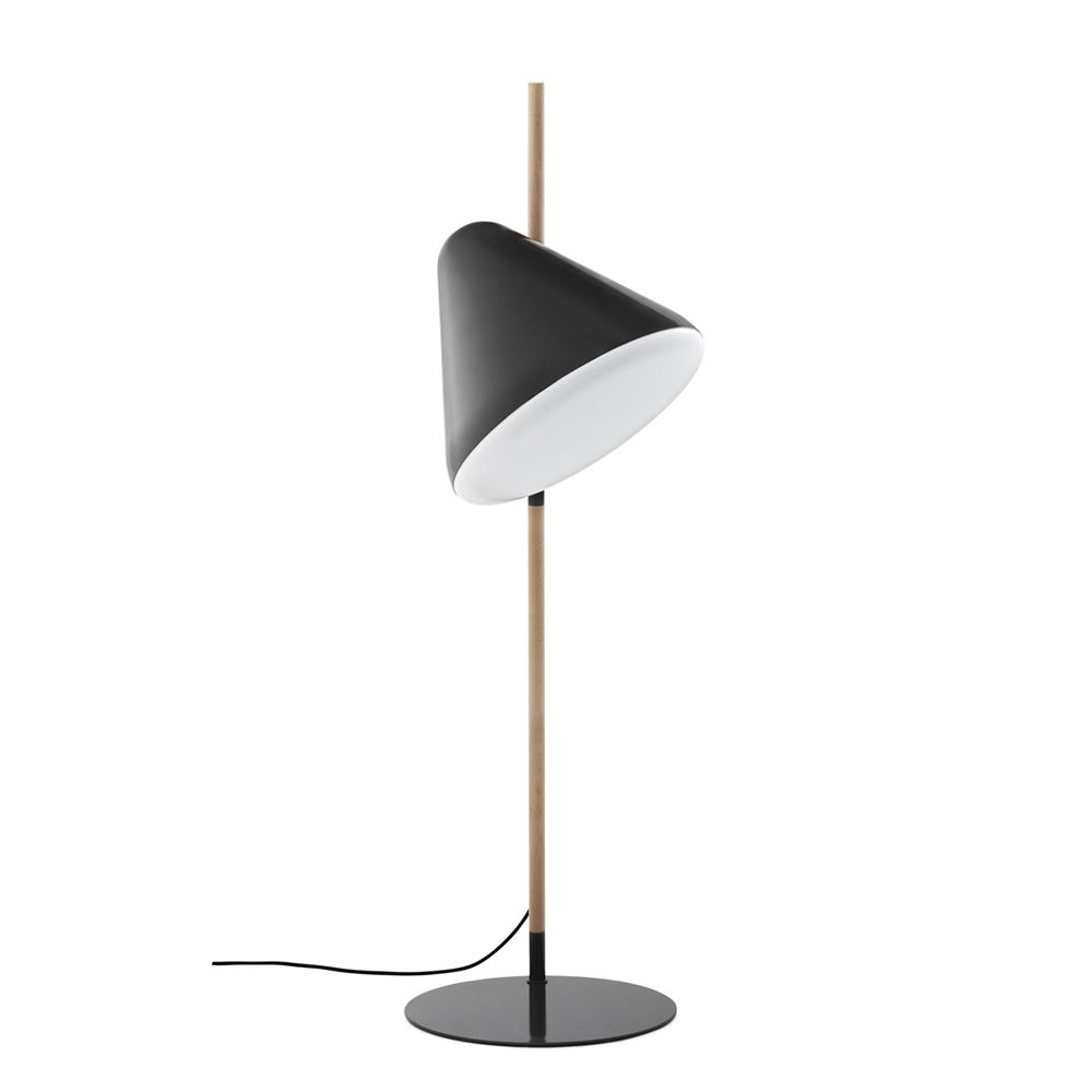 Floor lamp made of beech wood, base and lampshade in grey lacquered steel
