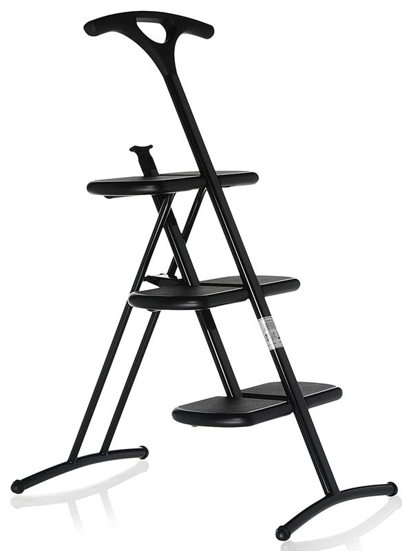 Kartell 3-foot folding stepladder with slip-resistant finish, in black colour