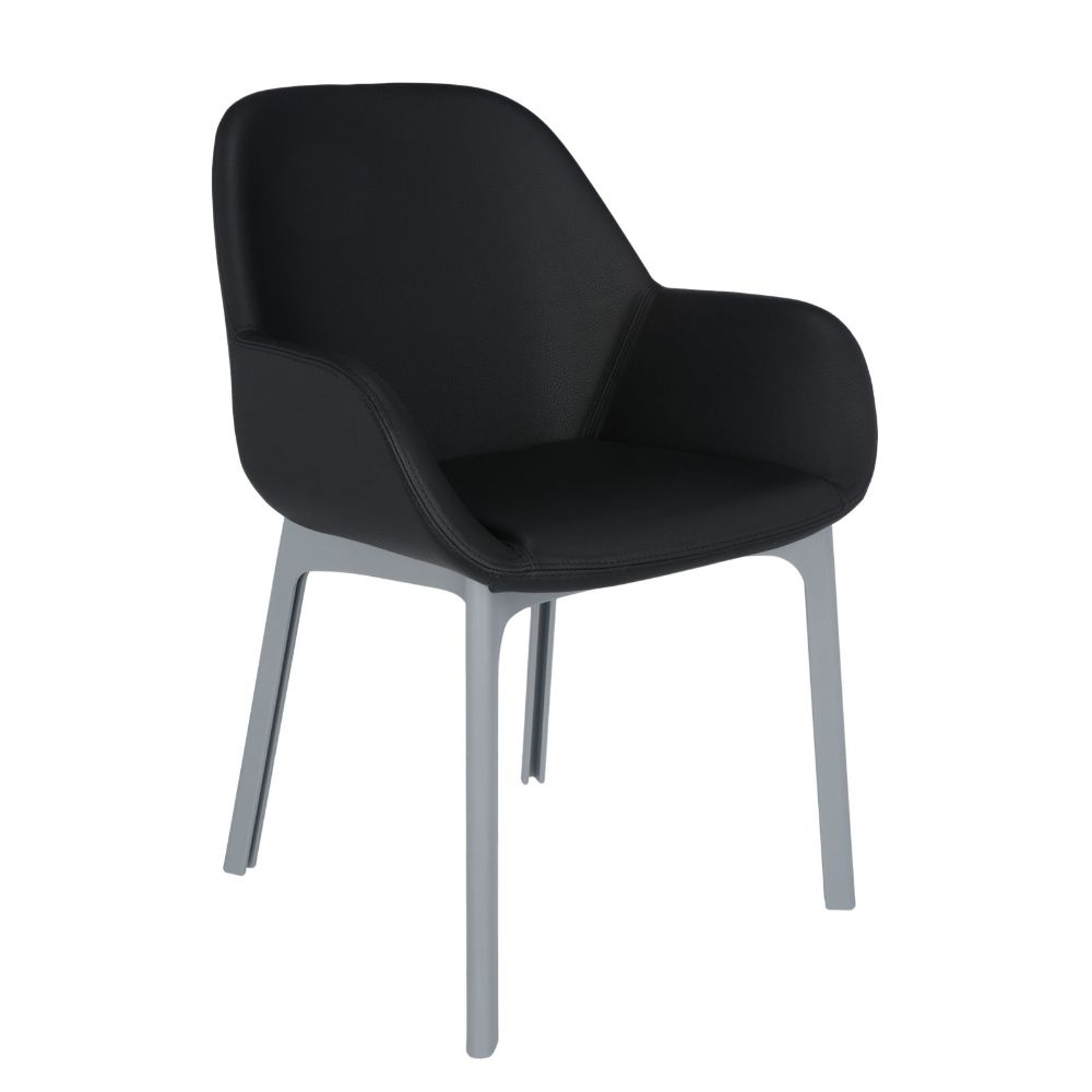 Kartell design armchair, structure in grey colour, covering in black