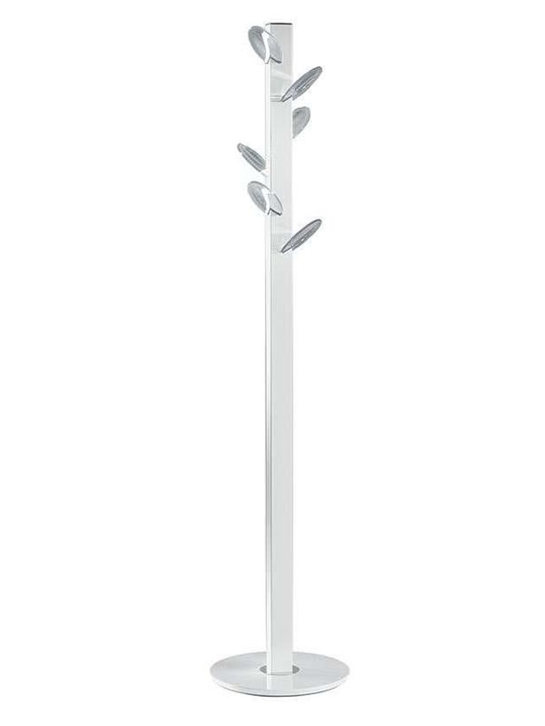 Coat-stand with white varnished steel structure, transparent polycarbonate hooks