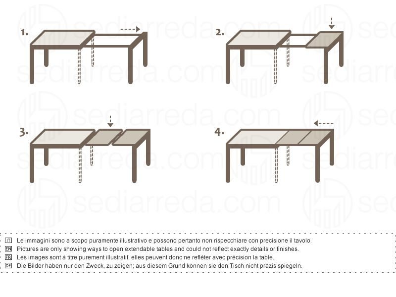 Extending table with legs always remaining at the corners