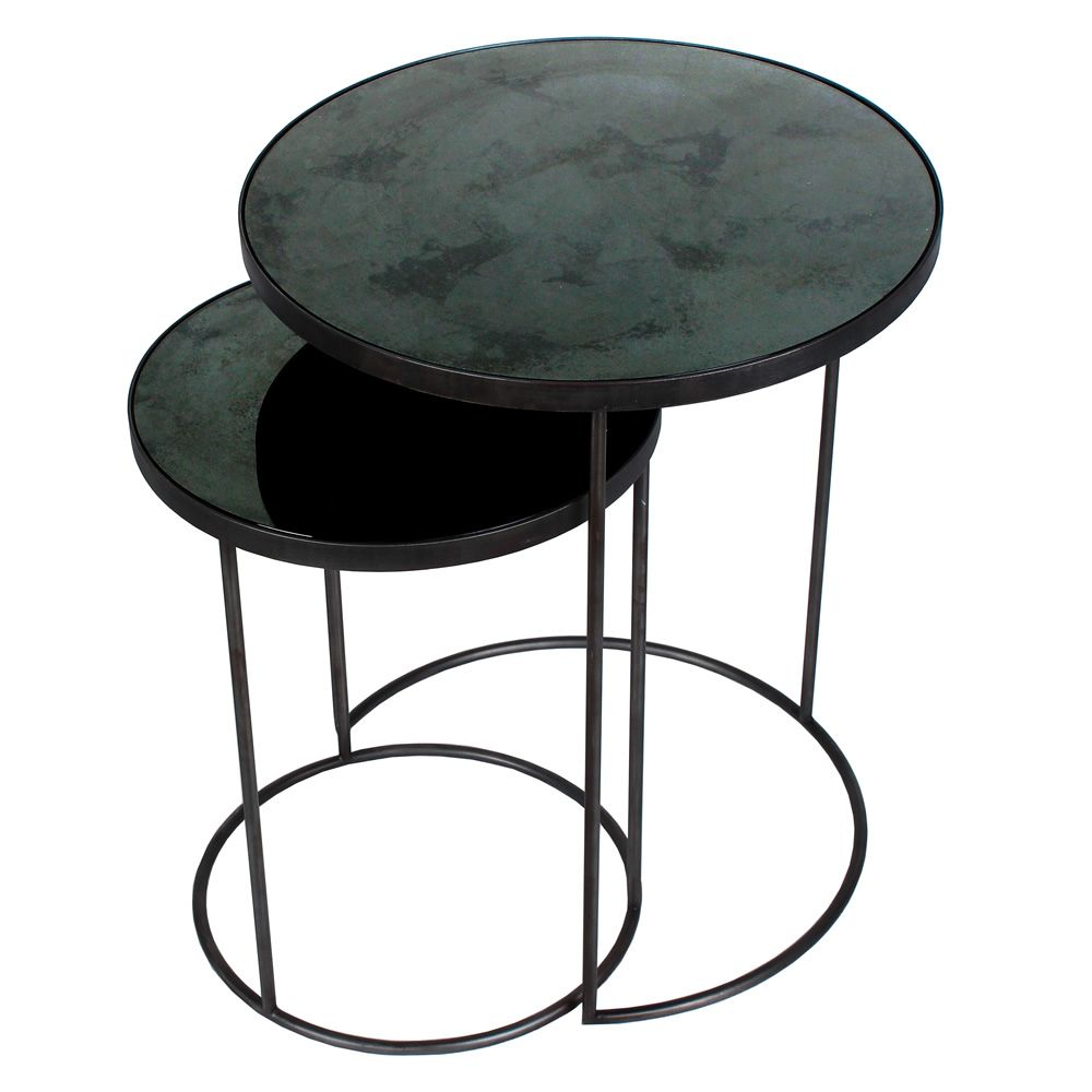 Set of Ethnicraft design coffee tables, in metal and glass