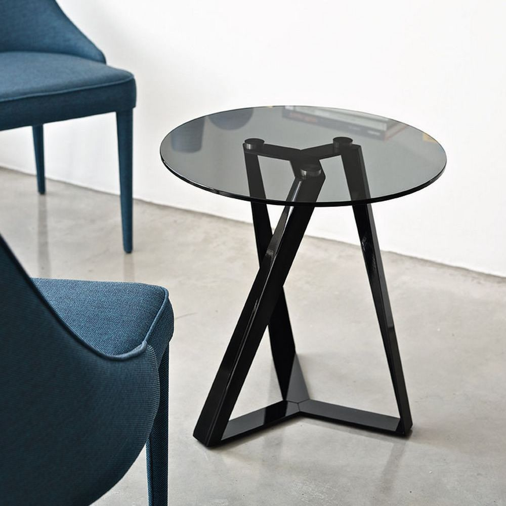 Bontempi coffee table in glossy black, smoke grey transparent glass top