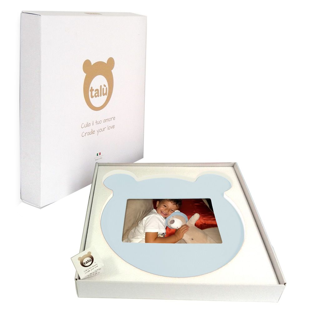 Photo frame in sky-blue lacquered MDF wood, with its gift-packaging