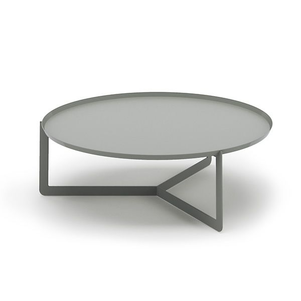 Small round table in lacquered metal, color grey, Ø 80 cm