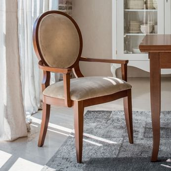 Auriga P 1193A - Classic chair with armrest made of walnut stained wood, with golden beige Raffaello fabric covering