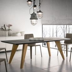 Artemidoro - Design fixed wooden  table, 160 x 90 cm, top in different materials and finishes