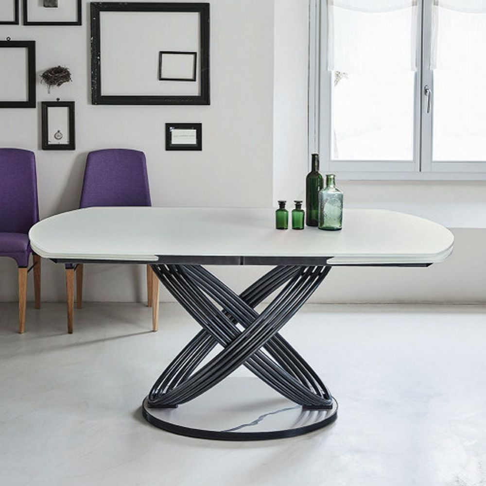 Table with metal base lacquered natural silver and top in opaque velvet white glass, base in opaque white Supermarble with natural silver contour