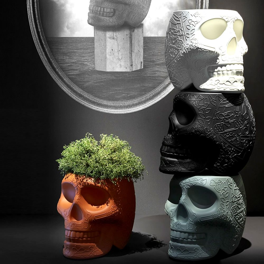 Skull shaped coffee table and stool