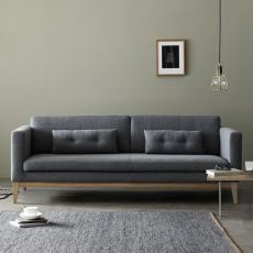 Day - Sofa with structure and legs in wood, padded and covered with fabric