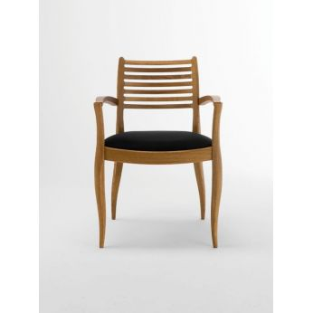Arki b - Eco-friendly chair with armrests, FSC wooden structure, black eco leather seat