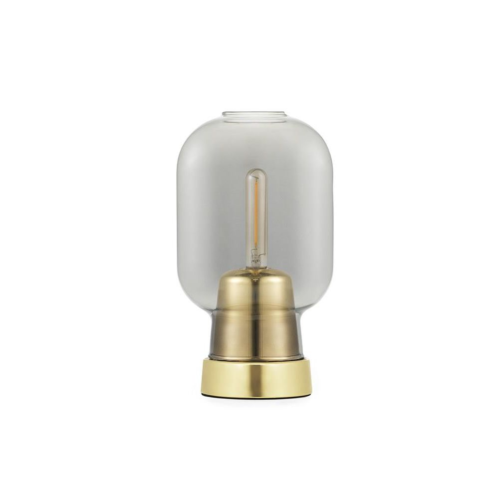 Table lamp made of smoke-grey glass with brass base