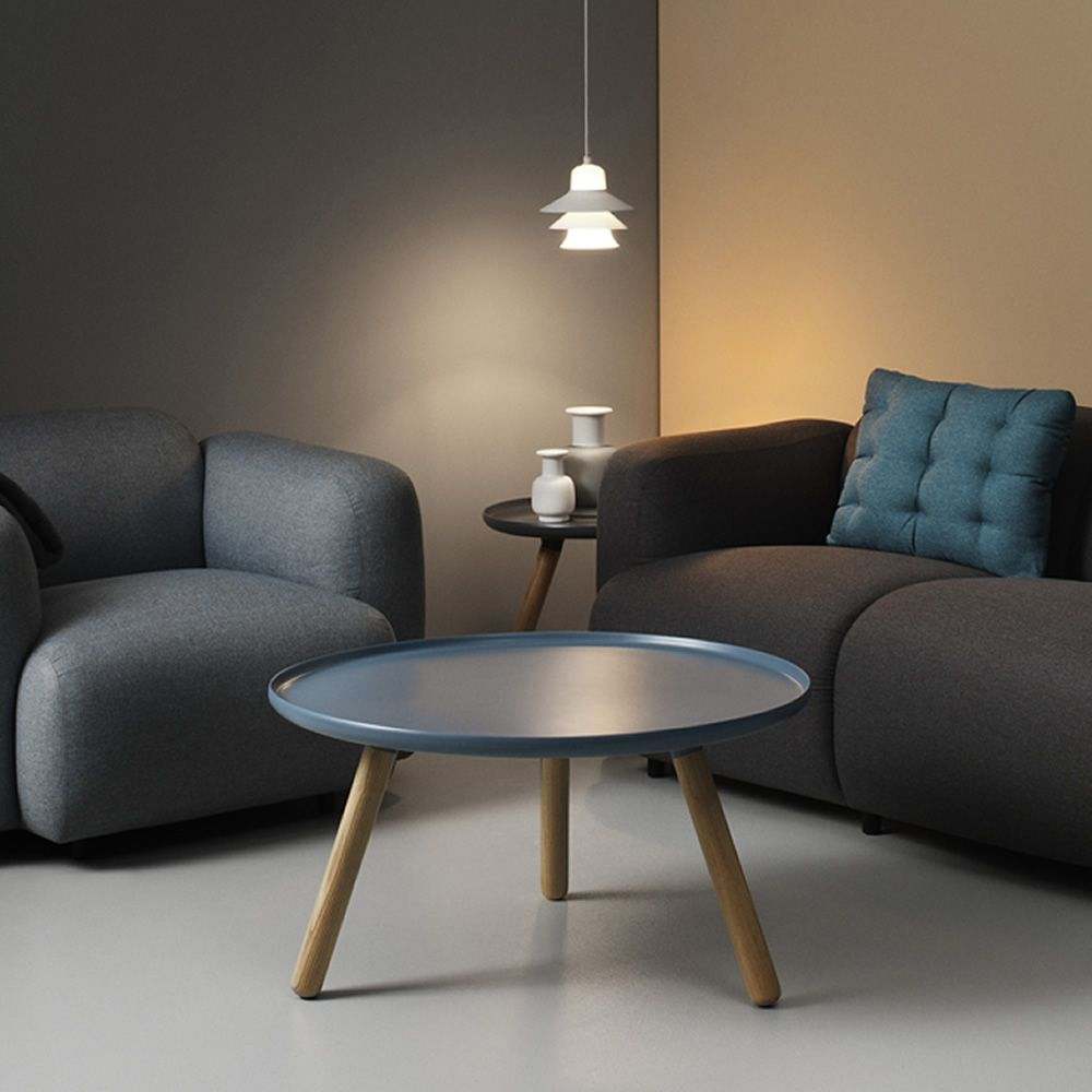 Coffee table made of ash wood with natural finish, plastic composite top in sky blue colour (size: L - diameter 78 cm)