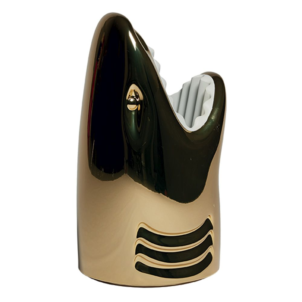Shark shaped umbrella stand in polyethylene with gold metal finish