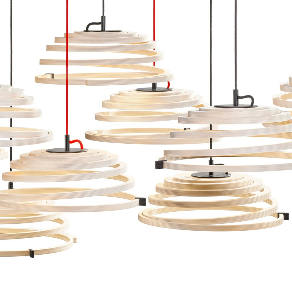 Suspension lamp in birch wood