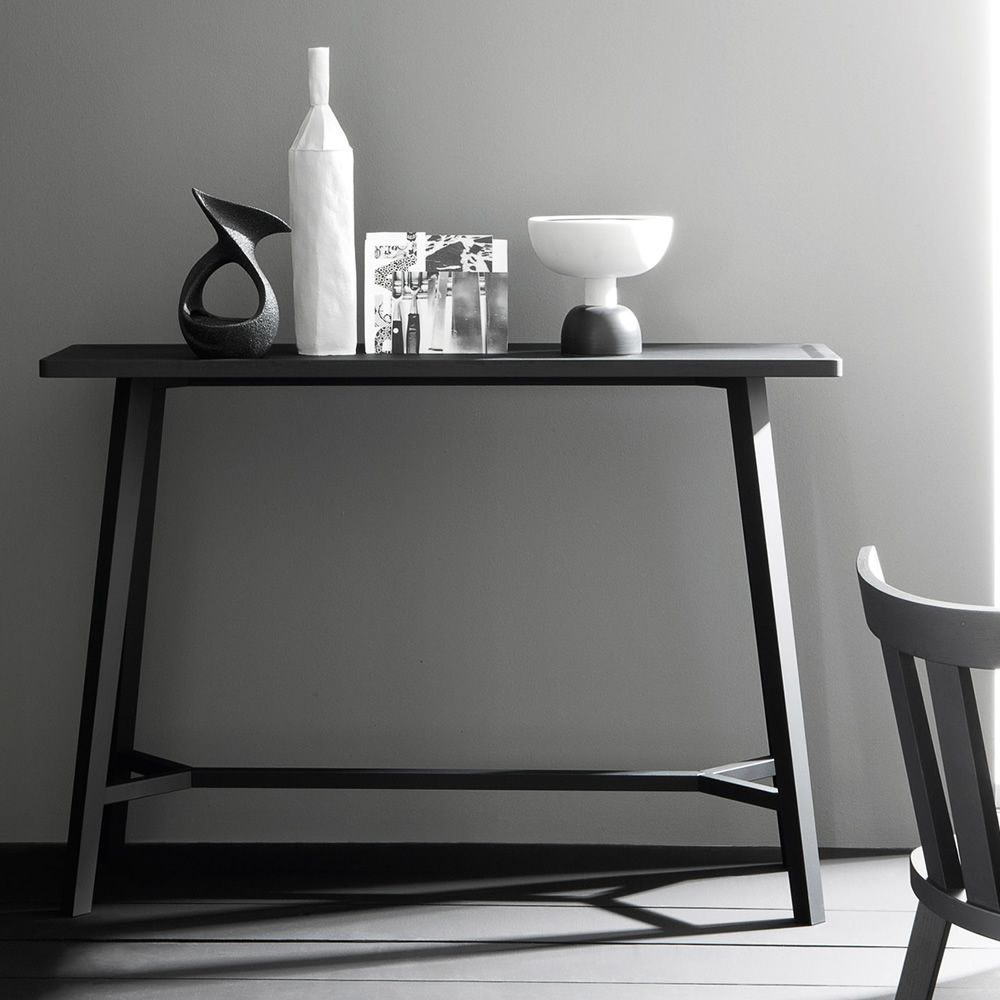 Console in black lacquered wood