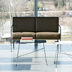 Billy 2 - Midj modern sofa in metal, with leather, fabric or imitation leather covering