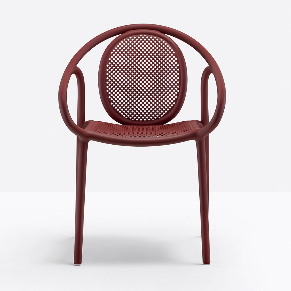 Pedrali polypropylene armchair, red colour