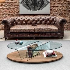 Arona 6212 - Tonin Casa wooden coffee table with glass top, different finished available, with magazine rack