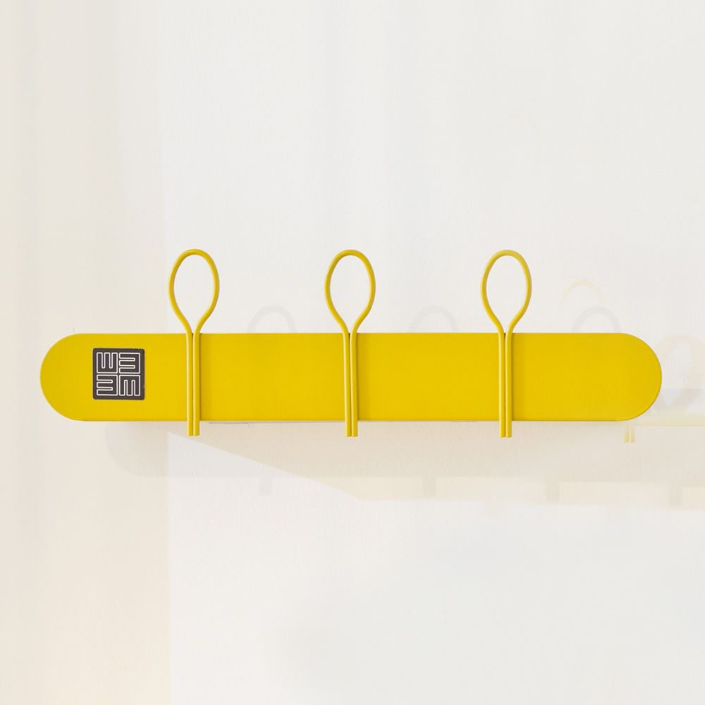 Shelf-coat rack in yellow varnished metal, A model