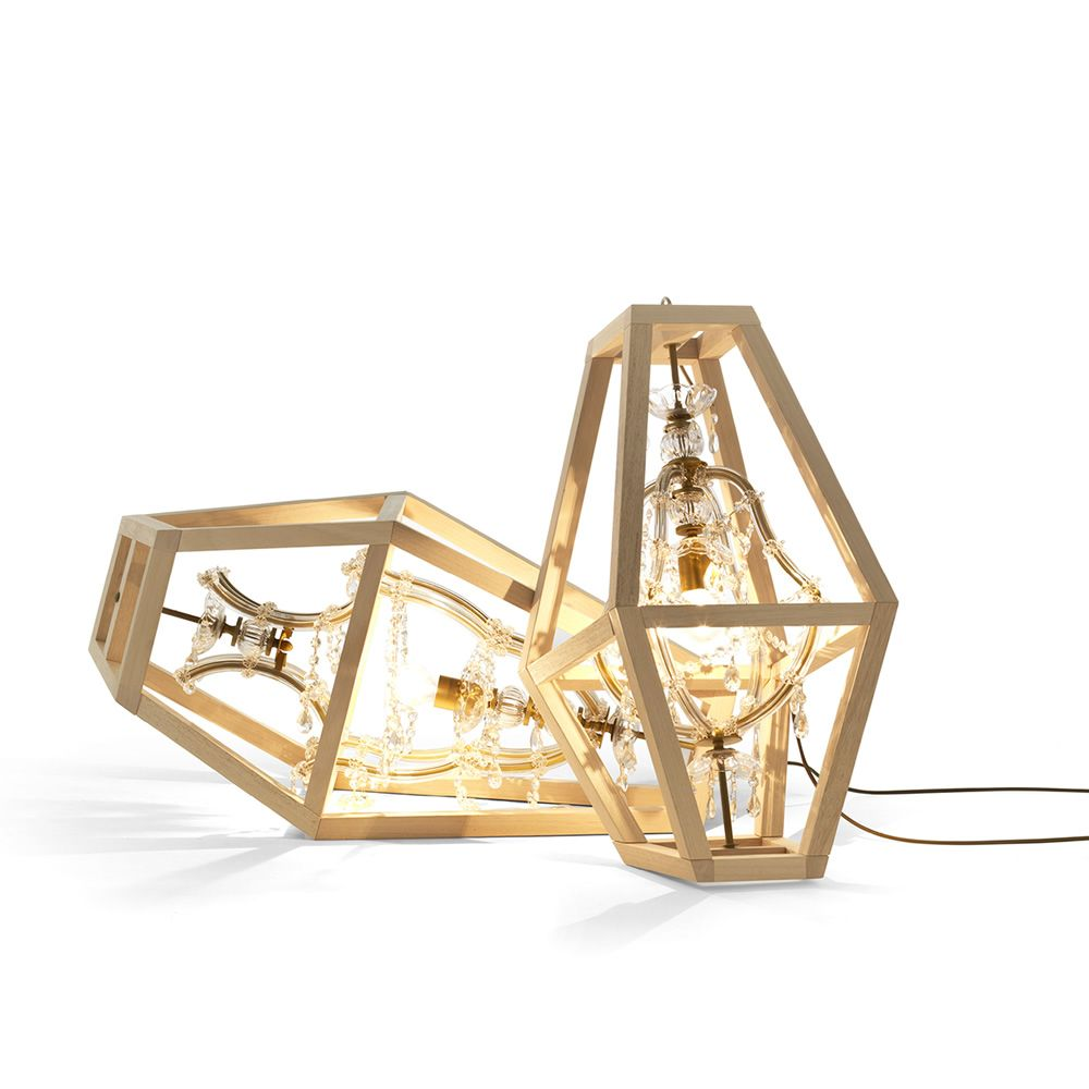 Pendant and table lamp, made of crystal with a wooden frame
