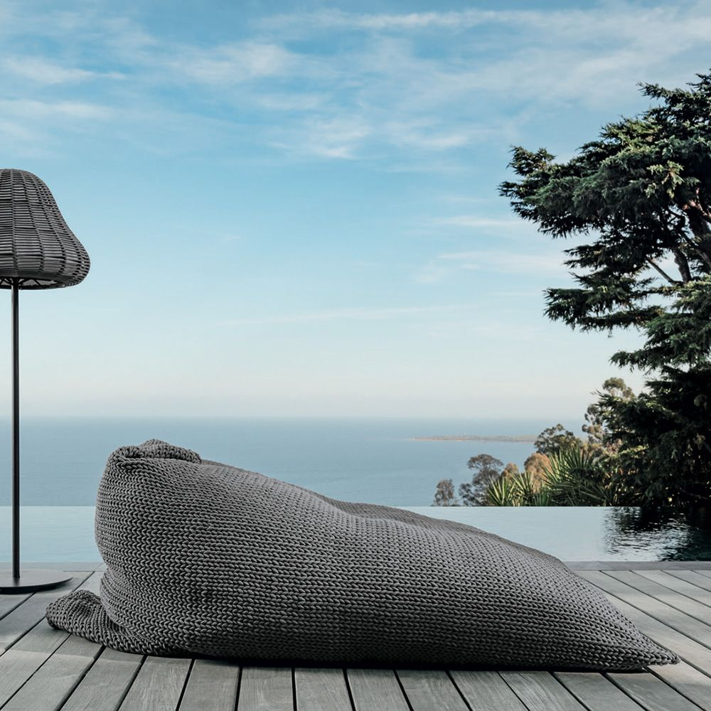 Pouf for outdoor with dark grey fabric