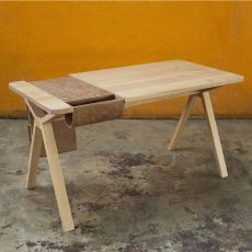 Bolsa - Design wooden Work Desk, with built-in storage saddlebag in leather or cork