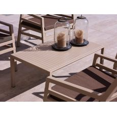 Aria T - Polypropylene low table, 60x60 or 100x60cm, for garden