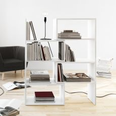 Extend - Extendable bookcase made of white lacquered MDF