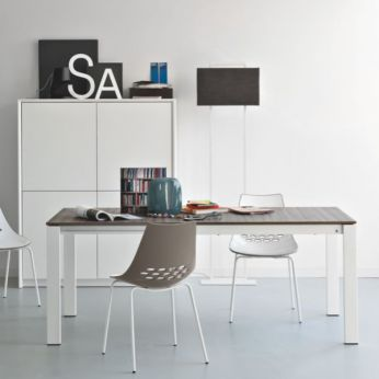 CB4010 130 Baron - Extendable table made of optic white metal with laminated top, grey wood colour, matched with CB1059 Jam chairs
