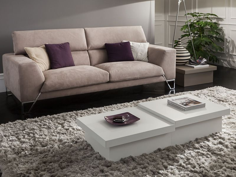 Composition with two coffee tables with different heights, in matt white colour