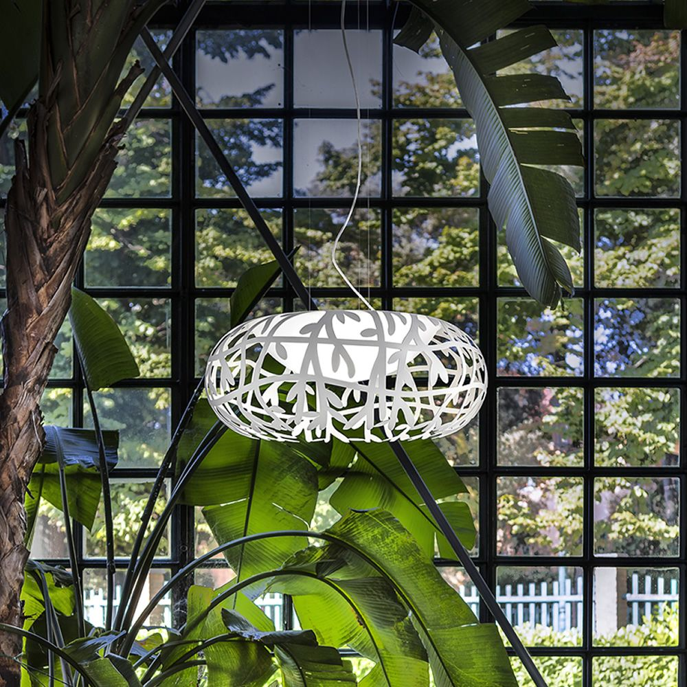 Design pendant lamp made of metal in opaque white colour