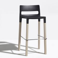 Natural Divo 2818 - Design stool in wood and technopolymer, seat height 75 cm, stackable