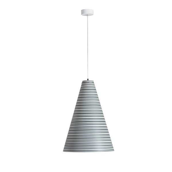 Pendant lamp made of polypropylene with striped decoration in grey colour