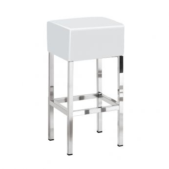 Cube 1402 - Bar stool, chromed frame and seat in white imitation leather