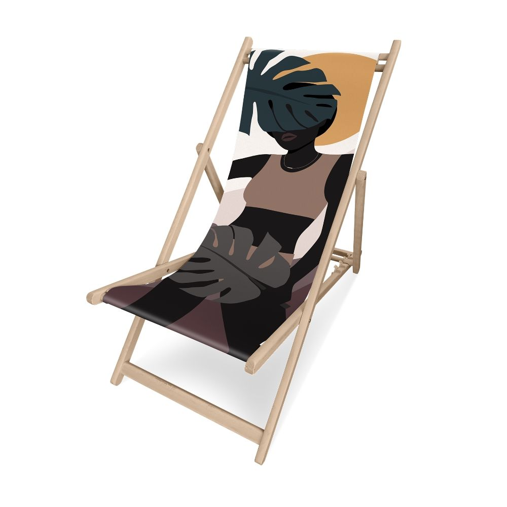 Pôdevache folding deckchair in pronted polyesther fabric, Sunset model
