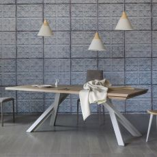 Gustave Plus - Miniforms rectangular table in metal and wood, extendible, available in different dimensions and finishes