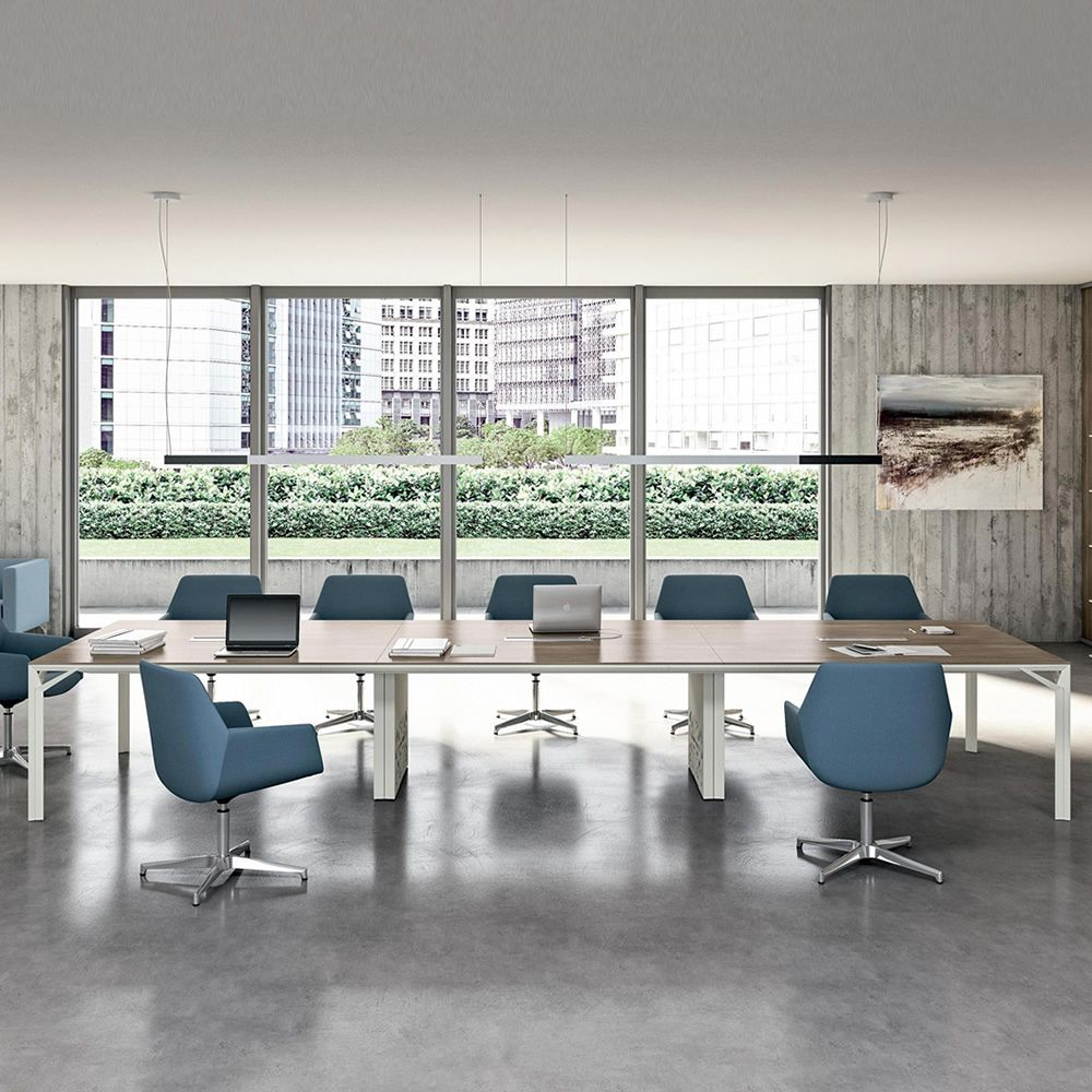 Office desk for meeting room, with the structure painted white and laminate in canaletto walnut