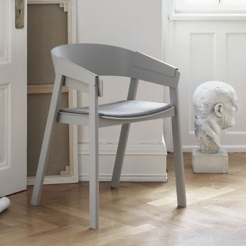 Cover Chair - Wooden chair in grey lacquered finish, with padded seat