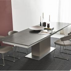 CB4087 Sincro - Connubia - Calligaris wooden table, top in glass or ceramic, 180 x 100 cm extendable