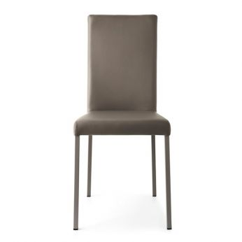 CB1525 Garda - Chair made of dove-grey varnished metal with seat and backrest covered with dove-grey imitation leather