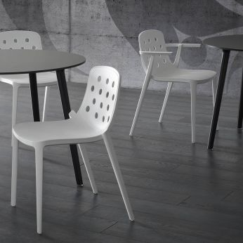 Isidora - Modern chair with white structure and seat, for outdoor