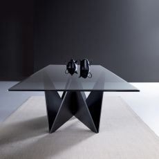 Origami Glass - Modern wooden table, beveled glass top, 220x110 cm