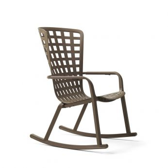 Folio rocking - Nardi rocking chair with reclining backrest, in polypropylene, coffee brown colour