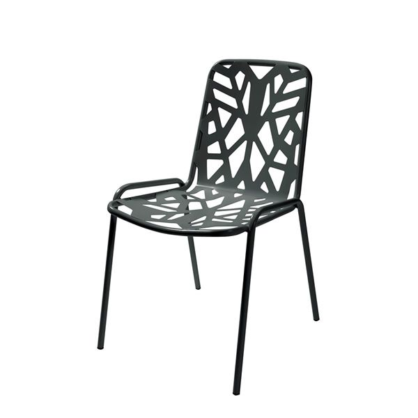 Stackable metal chair for garten, anthracite grey colour version