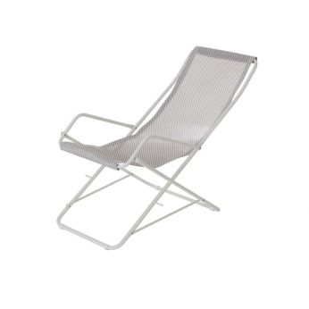 Bahama 170 - Deckchair with white varnished metal and net in ice colour