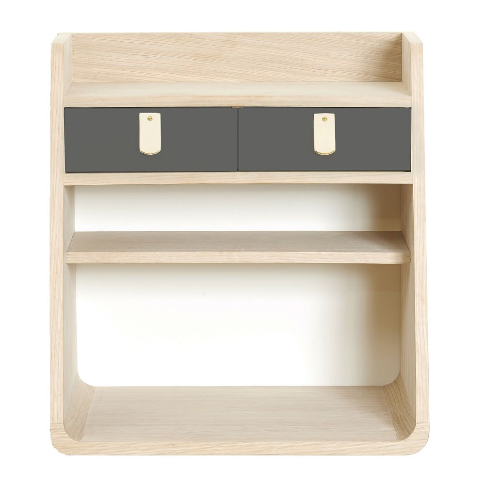Wall-mounted storage in oak wood, with two drawers in slate grey colour