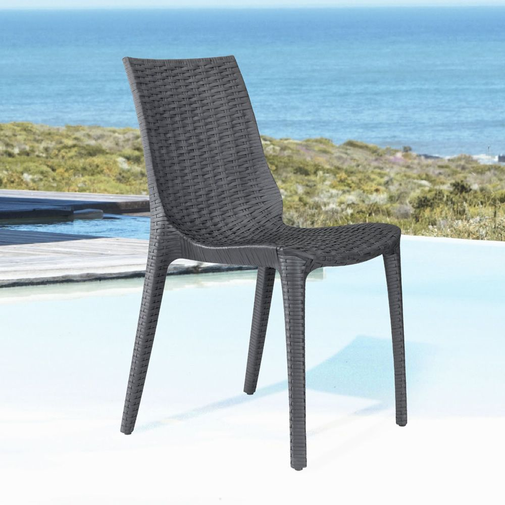 Stackable chair in anthracite grey colour